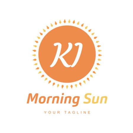 KI Letter Logo Design with Sun Icon, Morning Sunlight Logo Concept