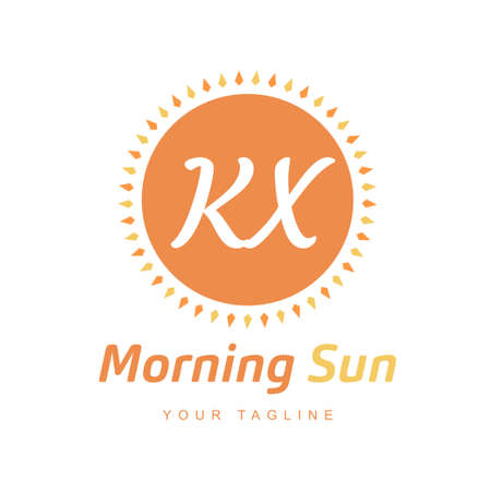 KX Letter Logo Design with Sun Icon, Morning Sunlight Logo Concept