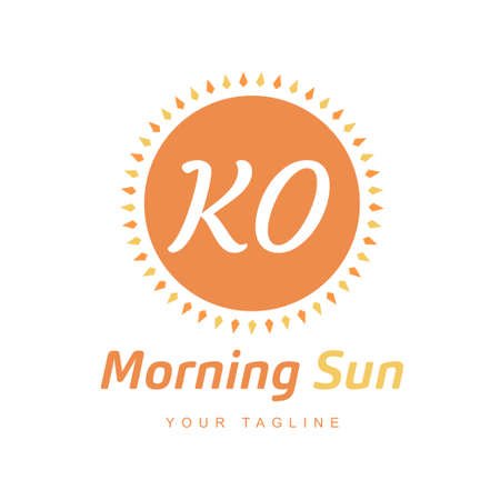KO Letter Logo Design with Sun Icon, Morning Sunlight Logo Concept Ilustração