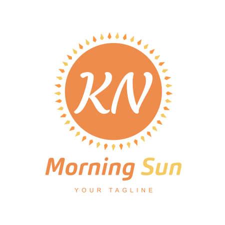 KN Letter Logo Design with Sun Icon, Morning Sunlight Logo Concept
