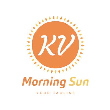 KV Letter Logo Design with Sun Icon, Morning Sunlight Logo Concept