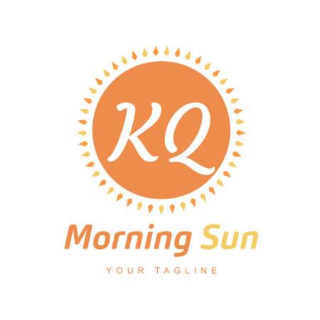 KQ Letter Logo Design with Sun Icon, Morning Sunlight Logo Concept