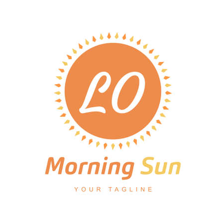LO Letter Logo Design with Sun Icon, Morning Sunlight Logo Concept