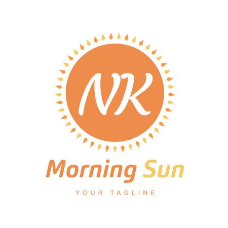NK Letter Logo Design with Sun Icon, Morning Sunlight Logo Concept