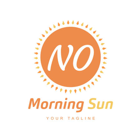 NO Letter Logo Design with Sun Icon, Morning Sunlight Logo Concept