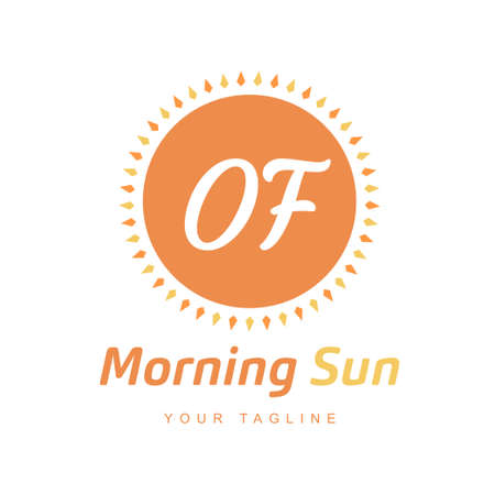OF Letter Logo Design with Sun Icon, Morning Sunlight Logo Concept