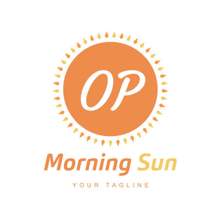 OP Letter Logo Design with Sun Icon, Morning Sunlight Logo Concept Ilustração