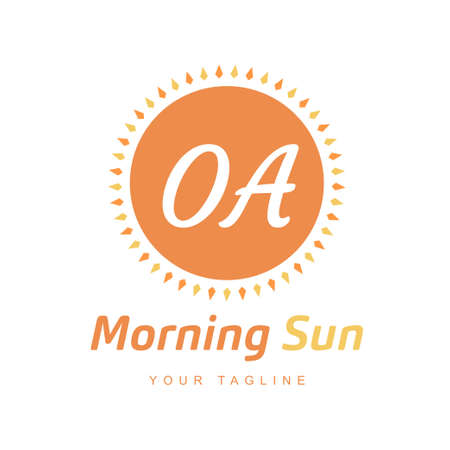 OA Letter Logo Design with Sun Icon, Morning Sunlight Logo Concept