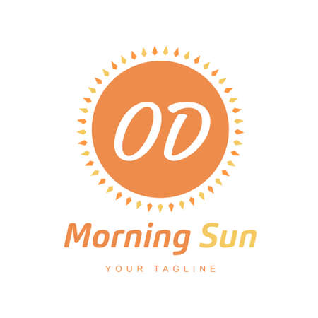 OD Letter Logo Design with Sun Icon, Morning Sunlight Logo Concept