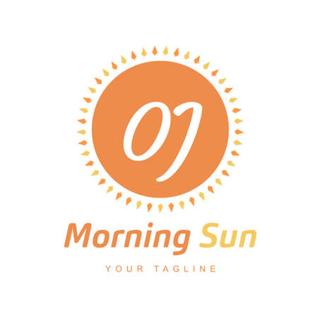 OJ Letter Logo Design with Sun Icon, Morning Sunlight Logo Concept