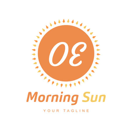 OE Letter Logo Design with Sun Icon, Morning Sunlight Logo Concept Ilustração