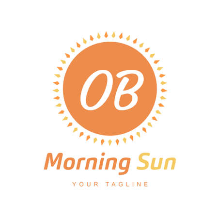 OB Letter Logo Design with Sun Icon, Morning Sunlight Logo Concept