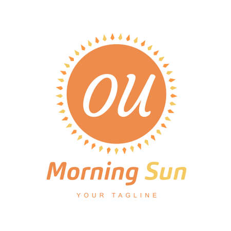 OU Letter Logo Design with Sun Icon, Morning Sunlight Logo Concept Ilustração