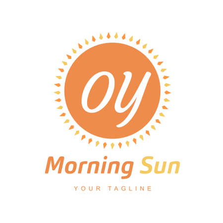 OY Letter Logo Design with Sun Icon, Morning Sunlight Logo Concept Ilustração