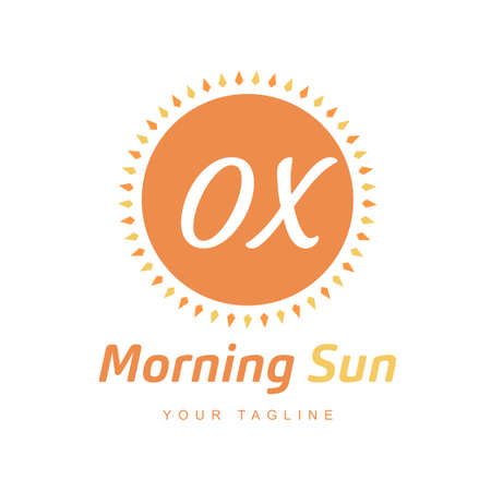 OX Letter Logo Design with Sun Icon, Morning Sunlight Logo Concept