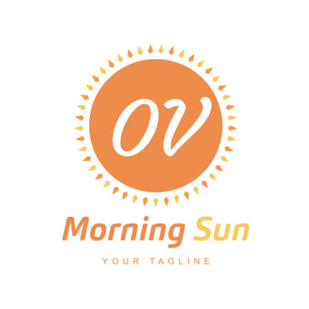 OV Letter Logo Design with Sun Icon, Morning Sunlight Logo Concept