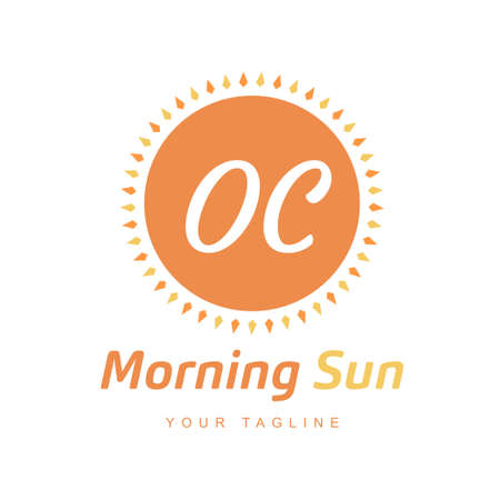 OC Letter Logo Design with Sun Icon, Morning Sunlight Logo Concept