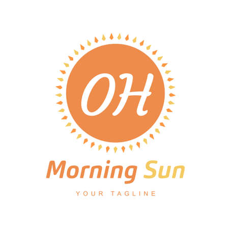 OH Letter Logo Design with Sun Icon, Morning Sunlight Logo Concept