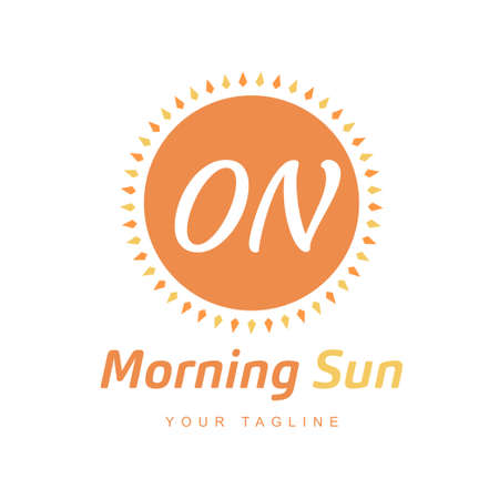 ON Letter Logo Design with Sun Icon, Morning Sunlight Logo Concept