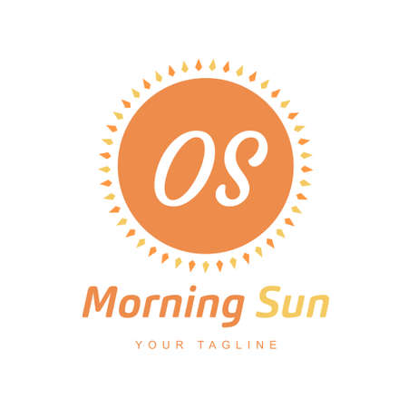 OS Letter Logo Design with Sun Icon, Morning Sunlight Logo Concept