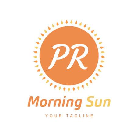 PR Letter Logo Design with Sun Icon, Morning Sunlight Logo Concept