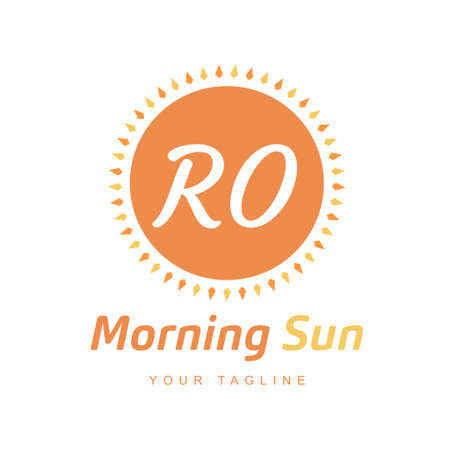 RO Letter Logo Design with Sun Icon, Morning Sunlight Logo Concept Ilustração