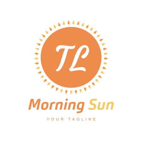 TL Letter Logo Design with Sun Icon, Morning Sunlight Logo Concept