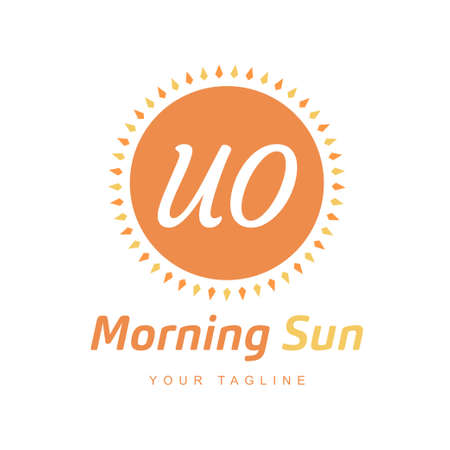 UO Letter Logo Design with Sun Icon, Morning Sunlight Logo Concept