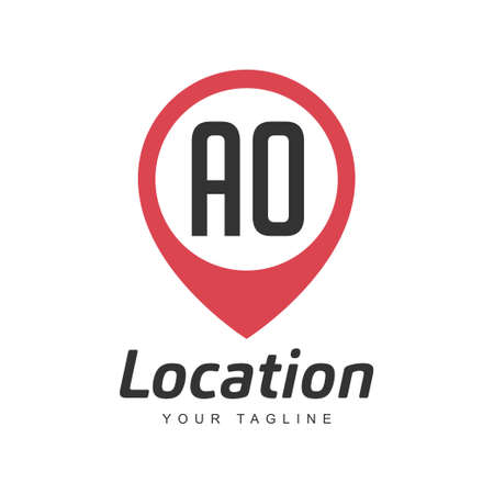 AO Letter Logo Design with Location Pin Icon, Location or Travel Logo Concept Ilustração