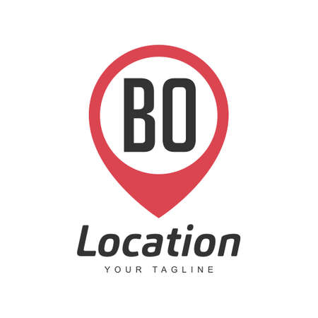 BO Letter Logo Design with Location Pin Icon, Location or Travel Logo Concept Ilustração