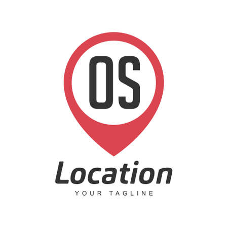 OS Letter Logo Design with Location Pin Icon, Location or Travel Logo Concept