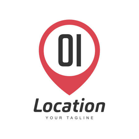 OI Letter Logo Design with Location Pin Icon, Location or Travel Logo Concept