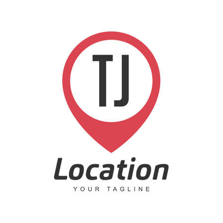 TJ Letter Logo Design with Location Pin Icon, Location or Travel Logo Concept Logó