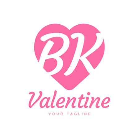 BK Letter Logo Design with Heart Icons, Love or Valentine Logo Concept