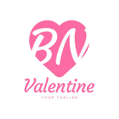 BN Letter Logo Design with Heart Icons, Love or Valentine Logo Concept