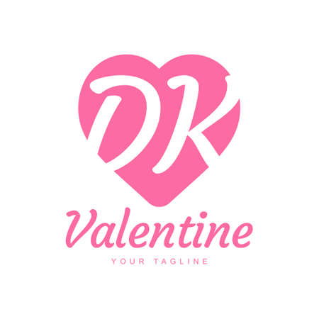 DK Letter Logo Design with Heart Icons, Love or Valentine Logo Concept