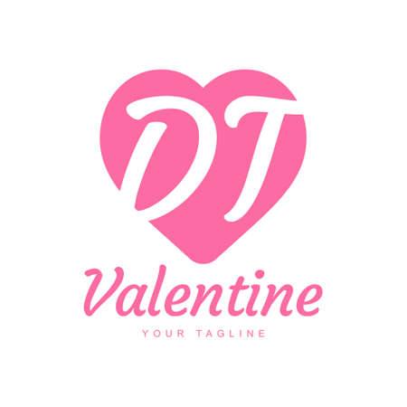 DT Letter Logo Design with Heart Icons, Love or Valentine Logo Concept Logo