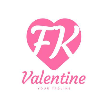 FK Letter Logo Design with Heart Icons, Love or Valentine Logo Concept Logó