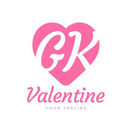 GK Letter Logo Design with Heart Icons, Love or Valentine Logo Concept