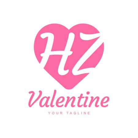 HZ Letter Logo Design with Heart Icons, Love or Valentine Logo Concept Logó