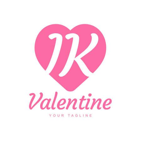 IK Letter Logo Design with Heart Icons, Love or Valentine Logo Concept