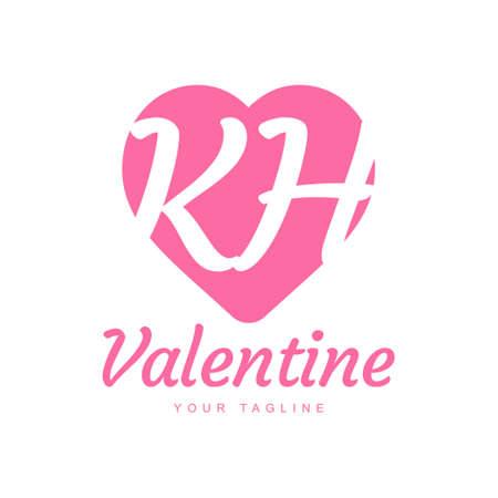 KH Letter Logo Design with Heart Icons, Love or Valentine Logo Concept