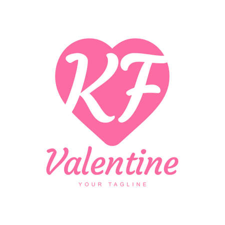 KF Letter Logo Design with Heart Icons, Love or Valentine Logo Concept