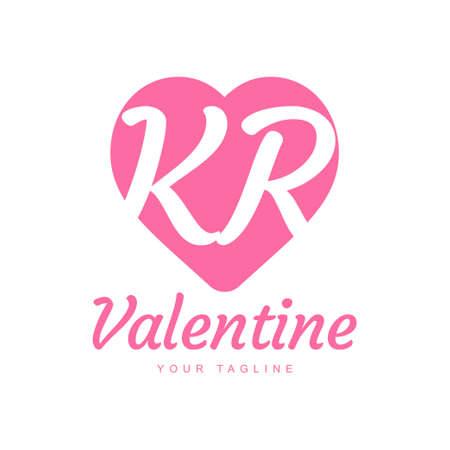 KR Letter Logo Design with Heart Icons, Love or Valentine Logo Concept