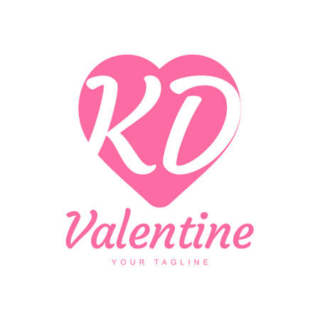 KD Letter Logo Design with Heart Icons, Love or Valentine Logo Concept