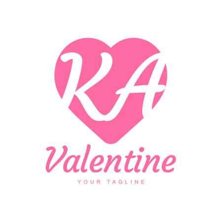 KA Letter Logo Design with Heart Icons, Love or Valentine Logo Concept
