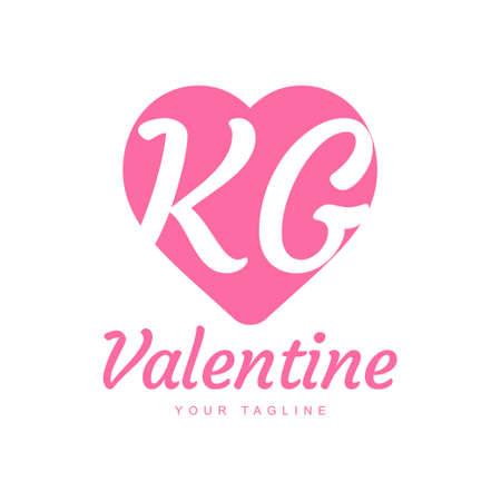 KG Letter Logo Design with Heart Icons, Love or Valentine Logo Concept