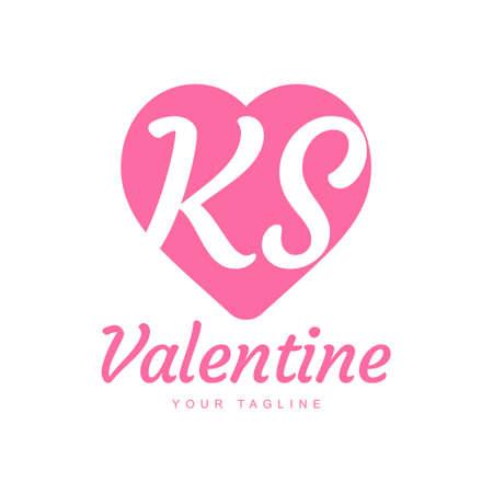KS Letter Logo Design with Heart Icons, Love or Valentine Logo Concept