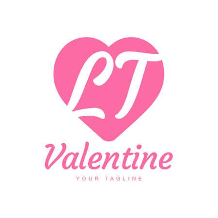 LT Letter Logo Design with Heart Icons, Love or Valentine Logo Concept