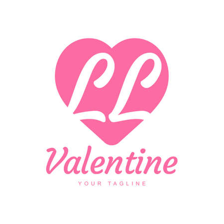 LL Letter Logo Design with Heart Icons, Love or Valentine Logo Concept Logó